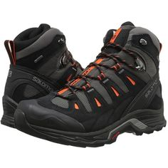 Salomon Quest Prime GTX (Autobahn/Black/Tomato Red) Men's Shoes ($190) ❤ liked on Polyvore featuring men's fashion, men's shoes, mens hiking boots, mens lightweight running shoes, mens breathable shoes, mens lace up shoes and mens red shoes
