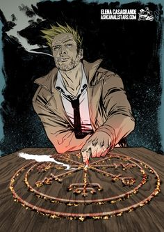 "Fumando, como ha de ser. John Constantine by Elena Casagrande for ""Hellblazer"" Week at AshcanAllstars.com"