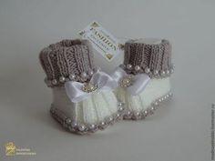 """Для новорожденных, ручной работы. Ярмарка Мастеров - ручная работа Пинетки """"Серебро"""". Handmade."""