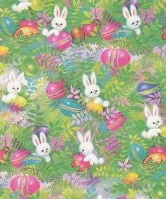 Vintage Easter Wrapping Paper Bunnies and Eggs Easter Art, Hoppy Easter, Easter Crafts, Easter Bunny, Vintage Wrapping Paper, Vintage Cards, Wrapping Papers, Vintage Easter, Vintage Holiday