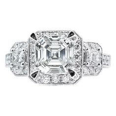 Vintage Style Asscher Diamond Engagement Ring Setting in White Gold 0.90 tcw.