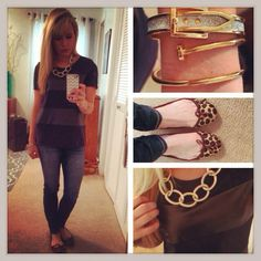 black&navy faux leather tee from Francesca's, Gap flats, Charlotte Russe necklace