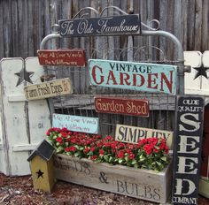 An Old Wire Gate, works well for displaying our Handmade Signs for the Garden Se… - Rustic Garden Decor Garden Crafts, Garden Projects, Diy Vintage, Vintage Garden Decor, Garden Junk, Old Garden Gates, Wooden Garden, Handmade Signs, Garden Signs
