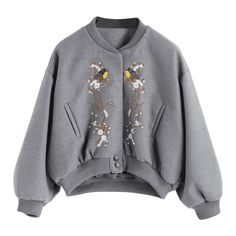 Snap Button Embroidered Wool Blend Jacket Gray (315 SEK) ❤ liked on Polyvore featuring outerwear, jackets, zaful, tops, gray jacket, snap button jacket, embroidery jackets, wool blended jacket and embroidered jackets