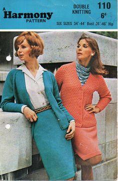 "womens suit knitting pattern PDF vintage 50s knitte d suit cardigan skirt 34-44""…"