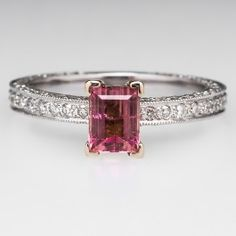 Emerald Cut Pink Tourmaline Engagement Ring w/ Diamond Eternity Shank 18K Yellow & 14K White Gold