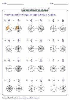 www.mathworksheets4kids.com fractions equivalent shade-pie-large.png