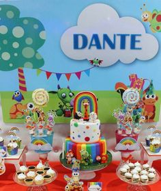 Fantastic rainbow Baby TV birthday party! See more party ideas at CatchMyParty.com!