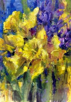 Daffodils and Hyacinths - Study, painting by artist Julie Ford Oliver