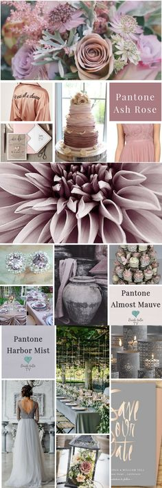 Three different Spring 2018 board using Pantone 2018 spring colours. Bride toBe TV creating inspiration and offering help and advice in planning your day check us out on Facebook and YouTube Ash Rose, Almost Mauve and Harbor Mist beautiful subtle wedding colour options for your day.