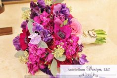 pink, hot pink, fuchsia, and purple wedding flowers with anemone and stock