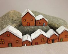 ***these houses are ready to ship and this is the set of houses you´ll receive Houses are 28-35 mm or 1.1-1.45 in. tall  Shipping fee is for first class airmail. Tracking service is available upon request for additional fee. Convo me before purchase.  ***All images, content and product designs are copyright © Szilvia Vihriälä 2008-16. All rights reserved