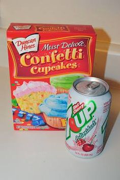Skinny Funfetti Cupcakes. 1 box Duncan Hines Confetti Cake 1 (12 oz.) Can Diet Cherry 7-up 350 degrees, 12 oz. can or 1.5 cups of pop, Beat cake mix and pop together until smooth and creamy, bake 18-24 minutes. *Whipped Frosting*  • 1 (8 oz) Container Cool Whip • 1 (8 oz) or use 4 oz. Sugar Free Vanilla Pudding Mix • Food coloring if desired Whisk until combined then cool until ready!