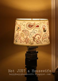 My scrap wood lamp with hand painted shade – Not JUST A Housewife