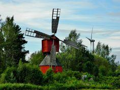 Windmill and wind turbine in Vaasa, Finland. Upper Peninsula, Windmills, Helsinki, Finland, Wind Turbine, Netherlands, Natural Beauty, Michigan, Yard