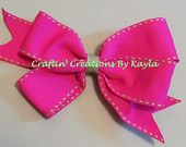 Hot Pink Pinwheel Hairbow with Lime Green Side stitch Made by Craftin' Creations By Kayla