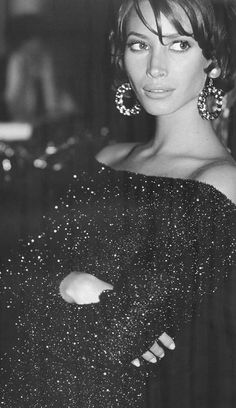 Black sequins dress on Christy Turlington