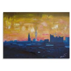 Hamburg Skyline In Watercolor Background Photo Print | Watercolor  Background And Hamburg
