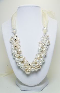 Pearl Cluster Necklace - White and off white pearls with crystals chunky ribbon tie beaded necklace - Silk Ribbons-. $27.00, via Etsy.