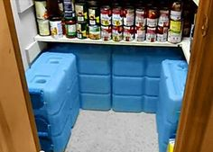 A store of 3.5 gallon 'brick' water containers.  This is an excellent article on storing water.