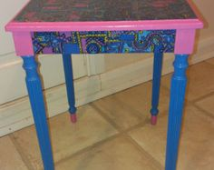 Upcycled table featuring vintage pattern