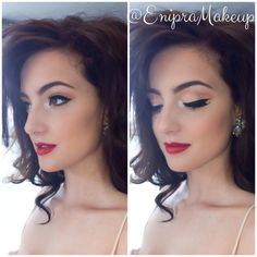 Old hollywood glamour makeup with red lips and a classic cat eye.
