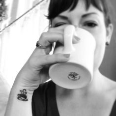 Just a little cup of coffee for a coffee addict  Tattoo. I love the placement, and size of this delicate and cute tat. Considering it!