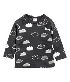 Dark gray/cloud. Long-sleeved T-shirt in soft cotton jersey with a printed…
