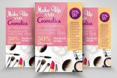Cosmetics & Make Up Discount Flyer Advertising Flyers, Creative Photoshop, Print Templates, School Design, Flyer Template, Flyer Design, Design Bundles, Make Up, Business Flyers