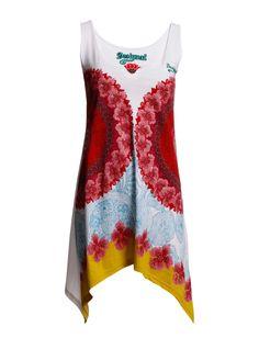 TS_MOSSY - Big, kaleidoscopic designs enrich this flared Desigual tunic for fun summer style.   *Sleeveless  *V-slit at the neckline  *Asymmetrical hem
