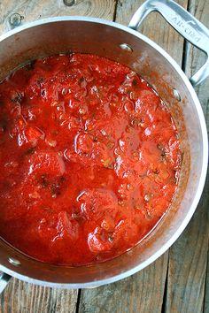 A Second Marcella Hazan Tomato Sauce + Hot Italian Sausage + Gragnano Pasta