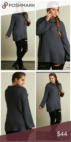 1 XL LEFT!! Gray Sweater ONLY 2 left!!!  Chunky Knit Turtleneck Top Sweaters Cowl & Turtlenecks