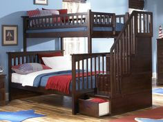 Constructed in solid eco-friendly hardwood, in four high build durable finishes, the Columbia bunk bed has a built in modesty panel and can accommodate under bed storage drawers or a trundle.