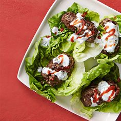 Buffalo chicken wraps, bulgogi beef wraps, thai pork cups, and other lettuce wrap recipes for Rachael Ray's magazine, Rachael Ray Every Day. Chicken Lettuce Cups, Rotisserie Chicken Salad, Chicken Curry Salad, Lettuce Wrap Recipes, Lettuce Wraps, Coronation Chicken Salad, Zucchini, Yummy Wraps, Pork Wraps