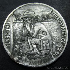'His Only Friend'Hobo Nickel Carving by Shaun Hughes