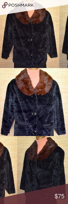 Faux Broadtail Lamb Jacket with Rabbit Fur Collar Vintage 60s black faux fur broadtail lamb jacket with brown rabbit fur collar.  Cropped boxy length with bracelet length sleeves and front pockets. Black satin acetate lining. Excellent condition with no issues.   Size Medium - Measures: Shoulders 16, Sleeve 17-3/4, Bust 39, Bottom 39, Length 21-3/4.   The fabric appears to be an embossed heavy weight velvet made to look like broadtail or Persian lamb.   Cute with skirts, pants or jeans…
