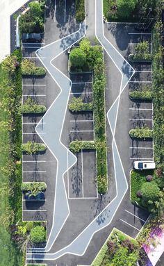 绞尽脑汁,没有搞不定的停车场! Landscape Plaza, Landscape And Urbanism, Landscape Design Plans, Landscape Architecture Design, Architecture Plan, Contemporary Landscape, Urban Landscape, Parking Plan, Plaza Design