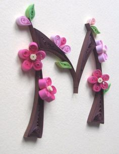 "Quilled ""M"" with Cherry Blossoms"