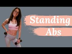 Lose belly fat with this abs workout routine. This at home standing ab workout will get your up off the floor and tone your 6 pack abs. For beginners should perform exercises without weights and for advanced workout perform exercises with dumbells. Exercise Without Weights, Ab Workout With Weights, Workout For Flat Stomach, Stomach Workouts, Standing Ab Exercises, Standing Abs, Abs Workout Routines, At Home Workouts, Ab Workouts