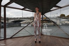 A model poses on the runway at the Jessica Minh Anh's Autumn Fashion Show 2015 on October 29, 2015 in Paris, France.