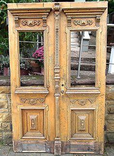 Antike Gründerzeit Haustür Eingangstür, 2-flügelig, Eiche, Zarge, guter Zustand