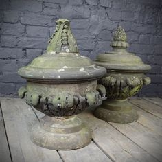 Ornate Carved Stone Finials (Pair)