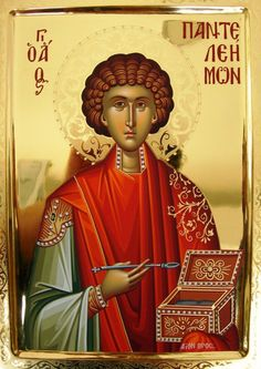 Panteleimon, the Great Doctor and Martyr, was born at the end of the century AD. His father, Eustrogios, was not only very rich but was well known for his zeal in idol worship; whereas his mother St. Byzantine Icons, Byzantine Art, Religious Icons, Religious Art, Luke The Evangelist, The Great Doctor, Religion Catolica, Orthodox Christianity, Art Icon