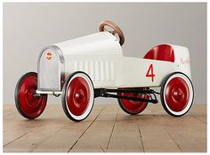 restoration hardware montlhery pedal car www.madmotherdesign.blogspot.com car, vintage, metal, retro, red, white, wood, gifts, kids, four