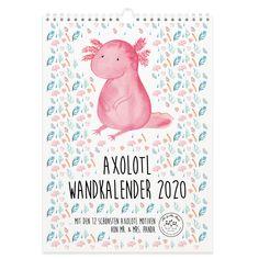 Diese und tolle weitere Wandkalender von Mr.&Mrs.Panda findest du unter www.pandaliebe.de Axolotl, Panda, Monat, Mr Mrs, Art, Design, Personal Organizer, Wall Calendars, Drawing Hands