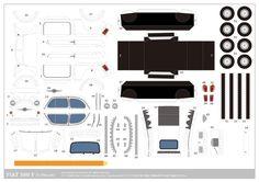Papercrafts Fiat 500 (x Fiat 500, Paper Model Car, Paper Models, Cardboard Model, Cars Series, Oragami, Paper Folding, Paper Toys, Templates