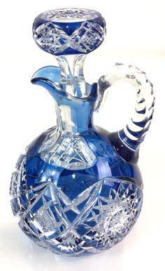 Antique Dorflinger Blue Cut To Clear Decanter