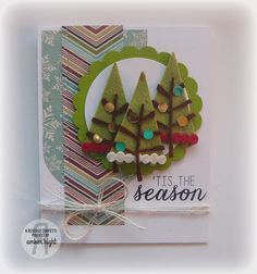 Card by Amber Hight. Reverse Confetti stamp set: Seasonal Sentiment. Confetti Cuts: Branch Out, Circles 'n Scallops and Tagged Tote. Christmas Card.