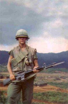 US Marine and his M16 with bayonet fixed. ~ Vietnam War
