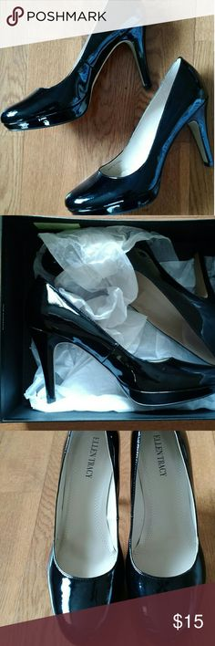 "EUC Ellen Tracy Patent Leather Pumps These pretty patent leather pumps are a great classic staple for any shoe collection. Pair with a pant suit for the office or a flirty dress for a night out!   Excellent condition w/original box! Only worn a couple times! Still smell new! Smoke-free home!  Almond toe. Padded foot bed.  *Only noted wear: soles; 2 scuffs on L shoe & 1 small scuff on R shoe (pictured)  Heel: approx. 4""  Platform: approx. 1/2 inch  These didn't fit, but they can be yours…"